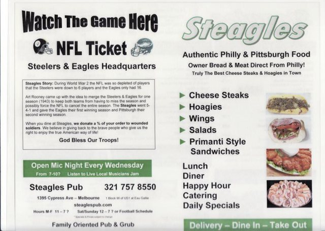 Steagles Pub in Eau Gallie Food Review