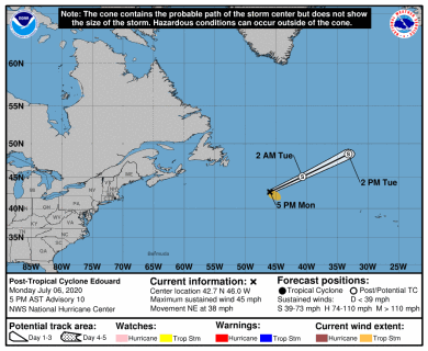 Post-Tropical Cyclone Edouard Track