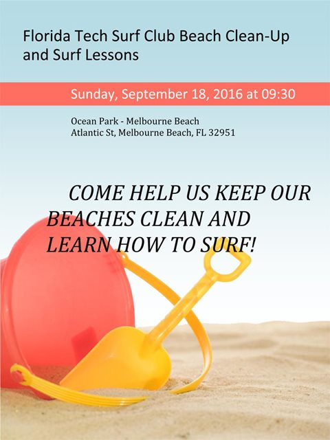 Florida Tech Surf Club Beach Clean-Up and Surf Lessons