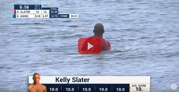 Kelly Slater surfs a perfect heat