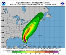 Hurricane Isaias skirting the East Coast